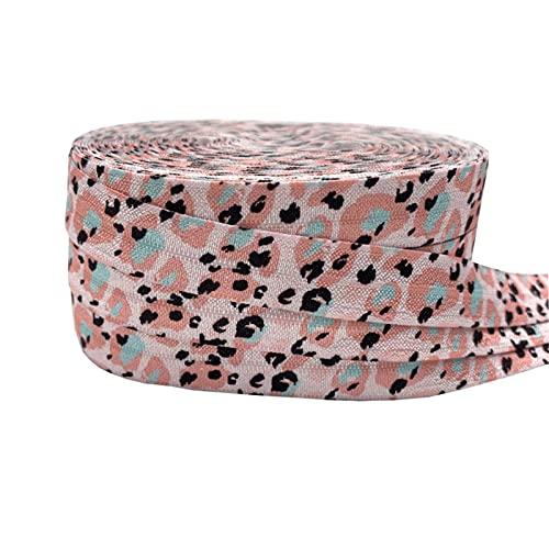 16mm leopardo flores impresión animal pliegue sobre banda elástica cinta de costura artesanía hecha a mano accesorios BRICOLAJE Bebé Diadema Pelo Lazos (Color : P1129, Width : 5yard elasitc)