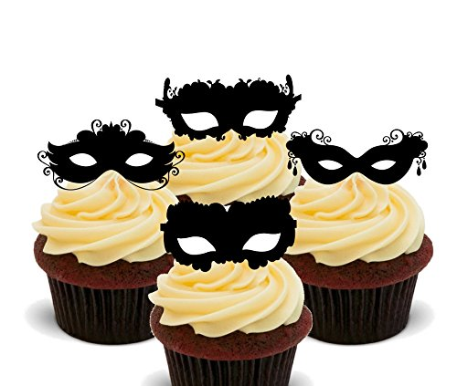 Maskerade Bal - Masker Silhouettes Eetbare Cupcake Toppers - Stand-up Wafer Cake Decoraties