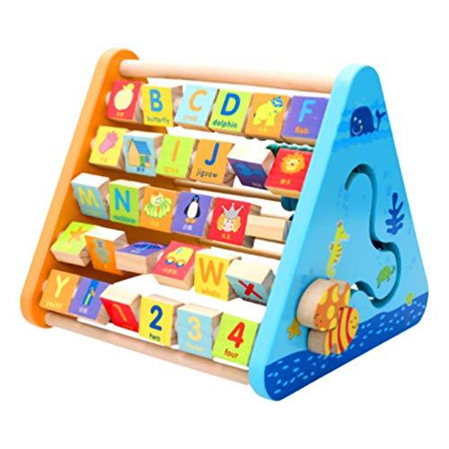 TOYANDONA Holz Abakus Spielzeug Alphabet Abakus Mathe Perlen Kleinkinder Aktivitätszentrum Pädagogische Spielstation Zählrahmen Und ABC Lernspiel