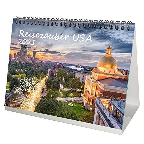 Reisezauber USA DIN A5 Tischkalender für 2021 USA Stadt und Land - Geschenkset Inhalt: 1x Kalender, 1x Weihnachtskarte (insgesamt 2 Teile)
