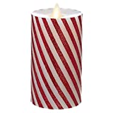 """Raz Imports Moving Flame Red And White Striped Pillar Candle 3""""X6"""" - Flameless Candles, Christmas Lighting Accents and Modern Holiday Decoration - Flickering Candlelight Décor for Home and Business"""