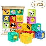 Adpartner Baby Blocks (Set of 9), Squeeze Building Blocks Soft Stacking Block Set