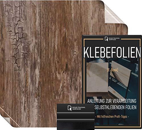Klebefolie in Vintage Holzoptik [WUNSCHMAß – bis zu 15m AM STÜCK] inkl. Rakel & eBook I Selbstklebende Holz Folie für Möbel & Küche – hitzebeständig & abwaschbar I Ablösbare Möbelfolie