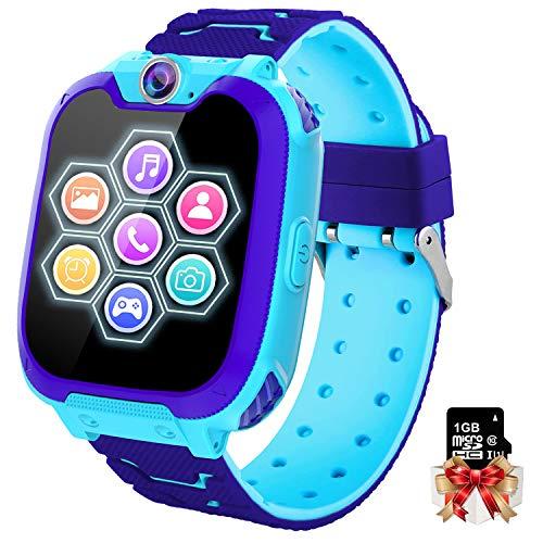 Kinder Smartwatch 7 Spiele - Kids Smartwatch MP3 Musik - Touch Screen Smart Phone Watch mit Kamera Wecker Recorder Rechner, Scherzt Intelligente Uhr für Jungen Mädchen Geschenk 3-12 Ys(W/ 1G SD Card)