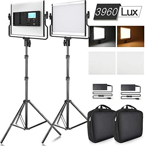 SAMTIAN Video Licht LED 3960 Lux Zweifarbiges LCD-Display Bi-Color-LED Studio-Videoleuchte Doppelpack mit Stativ U-förmige Stativaufnahme für professionelle Video-Shootings und Studiofotografie