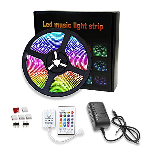 12V 300 LEDs 16.4FT Waterproof Music Sync Color Changing RGB Led Strip Lights for Bedroom Kitchen Home DIY Holidays DecorationLighting Kits with 24-Button Remote