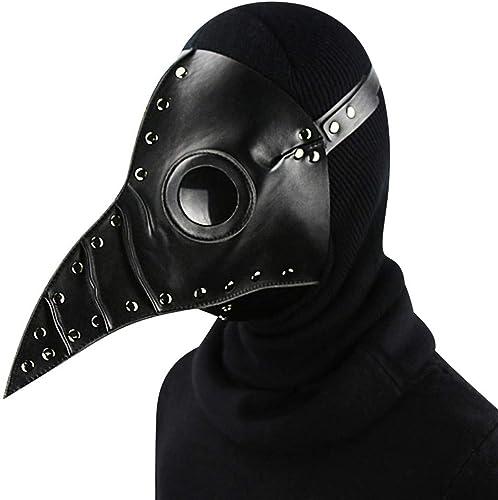 Jiahe Masque Punk Masque de la peste Masque HalFaibleeen Accessoires de Costume Masque à Vapeur Gothique Cosplay,noir