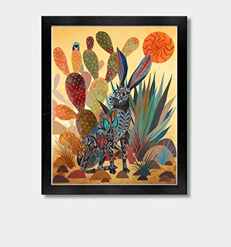 Sonoran Summer - by Artist Jason Smith - Arizona, Southwestern Decor, Southwest, Mexican Art, Folk Art, Mexico, Desert, Cactus, Birds, Cacti, Rabbit, Print, Artwork, Texas, Utah, Home, Talavera