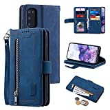 UEEBAI Hülle für Samsung Galaxy S20 FE 5G, Vintage Reißverschluss Handyhülle PU Leder Klapphülle Silikon Bumper mit 9 Kartenfächer Standfunktion Geldbörse Trageband Schutzhülle Wallet Hülle - Blau