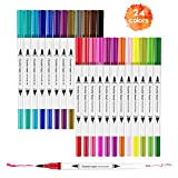 HETHRONE Dual Brush Markers, Highlighter and Fine Tip Coloring Markers, Perfect for Children Adult Drawing Manga Calligraphy Art Design (24Colors)