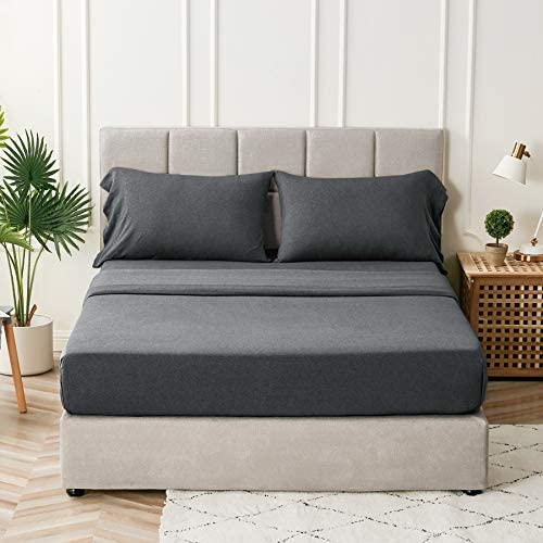 Bedsure Jersey Knit Sheets Full Set 100 Cotton T Shirt Bed Sheets for Full Size Bed Dark Grey product image