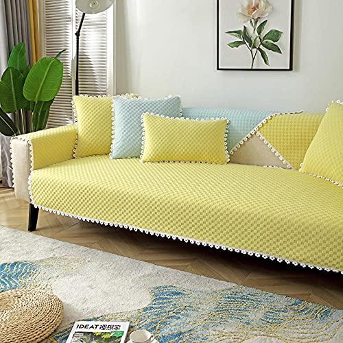 Fsogasilttlv Funda para Sofa Amarillo A 110 * 180 cm, Manta de sofá de Chenilla Gruesa Four Seasons, Fundas de sofá para sofá de cojín de Sala de Estar