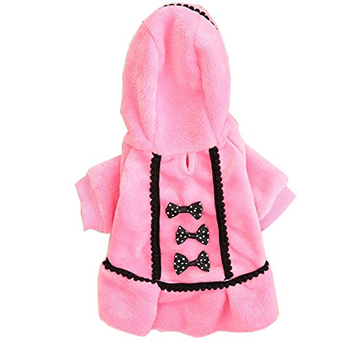 LINGERY Cute Dog Coat Jacket Pet Supplies Clothes Winter Apparel Puppy Costume (Pink, XS)