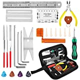 Ovsor 26Pcs Guitar Maintenance Repairing Tool Kit with Guitar Picks, String Winder, Bridge Pins for Luthier Tools Guitar Adjustment Kit