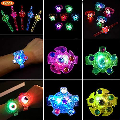 Angusiasm Regalos para niños, Juguetes con luz LED Que Brillan en la Oscuridad Suministros de cumpleaños para niños Premios para la Mano en el Aula Spin Stress Relief Ansiedad Juguetes