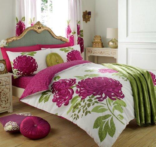 Gaveno Cavailia Botanical Duvet Cover Quilt Set With Pillow Case, Reversible, Poly Cotton, Kew White/Fuchsia, King Size Bedding, Polycotton