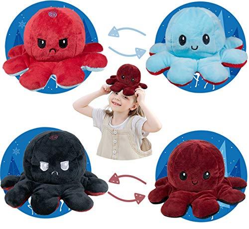 Not application 2 Piezas TIK Tok Octopus Reversible, Peluches Doble Cara Pulpo Flip Familiares Amigos Pequeño Lindo Muñeca Niños (Vino Tinto/egro + Azul/Rojo)
