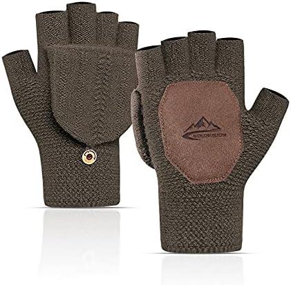 Variety To Go Winter Knitted Fingerless Gloves Convertible Wool Mittens Warm Glove Women & Men Unisex