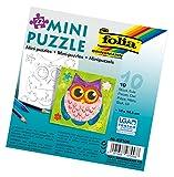 folia 23104 - Mini Puzzle Eule, ca. 14 x 14,5 cm, 22 Teile, 10 Stück, weiß - erst Puzzeln dann...