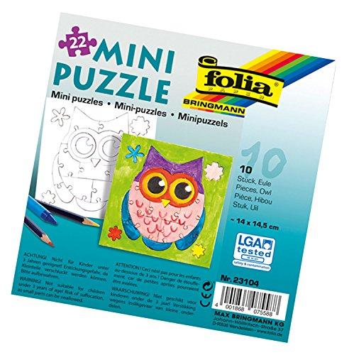folia 23104 - Mini Puzzle Eule, ca. 14 x 14,5 cm, 22 Teile, 10 Stück, weiß - erst Puzzeln dann Malen, für Kinder, Jungen und Mädchen