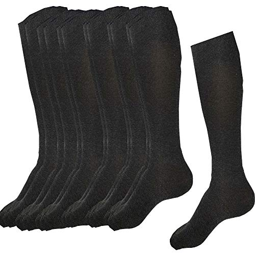 6 pares de calcetines deportivos largos para mujer, color gris oscuro
