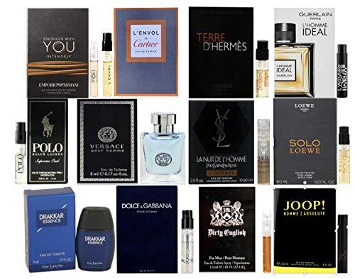 Designer Fragrance Sampler for Men - Lot x 12 Cologne Vials with Two Deluxe Miniature Bottles