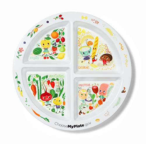 Portion Plate For Kids - 4 Divided Sections - Portion Control - Weight Loss - Picky Eaters -MyPlate