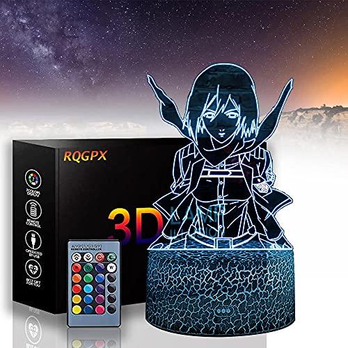 Mikasa Ackerman 3D lámpara de luz USB Ataque a Titán 16 colores cambio automático escritorio decoración lámparas regalo cumpleaños con control remoto