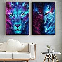 ライオンウルフキャンバスアートパネル絵画インテリア動物のポスターとプリント抽象的な壁アートパネル動物の写真リビングルーム寝室屋内壁の装飾40x60cmx2フレームなし