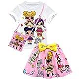 Vowdicua Cute Girl Surprise Short Sleeve Shirt Cartoon Dolls Print Skirt For Kids
