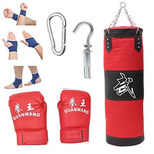 Boxsack Set Heavy Duty Vierpunkt-Stahlkette Oxford-Stoff Punchingsäcke Ungefüllt Hängende Boxsack Kampfsport Punching Bag für Boxtraining Fitness Sandsack
