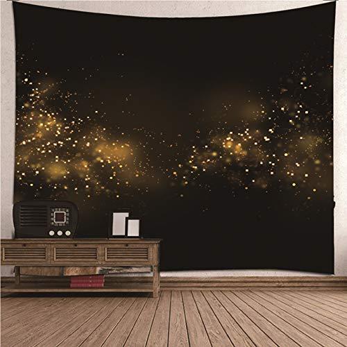 Daesar Tapiz 3D Grande Habitacion,Cielo Estrellado Tapices Tela Pared Poliéster Tapiz Indio Negro Oro 240x220CM(Ancho x Altura)