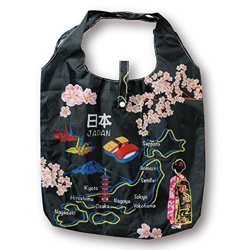 ノルコーポレーション エコバッグ 和柄 折りたたみ 収納袋付き 日本地図 黒 ECZ-1-37