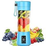 Licuadora portátil, batidora personal, mezcladora de frutas pequeña, vaso de exprimidor eléctrico recargable por USB con 6 cuchillas, máquina de mezcla de frutas en el hogar, viajes, Azul