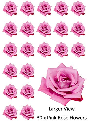 30 obleas comestibles para cupcakes, diseño de rosas, color rosa