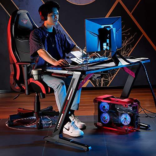 EUREKA ERGONOMIC Bureau Gamer Z1S Bureau pour Gaming pc table gamer Gaming Desk pour Gaming et Arènes E-Sport avec LED Bleu Tapis Souris Noir