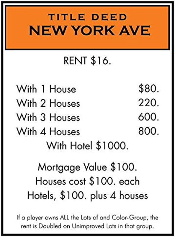 Monopoly Board Game Wall Decals Stickers For Rooms Or Bedroom New York Hotel Orange Cards Card Board Sticker Kids Walls Family Fun Children Kid Strategy Games Art Decor Size 20x15 Inch