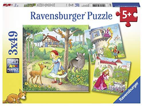 Ravensburger Kinderpuzzle 08051 - Rapunzel, Rotkäppchen & der Froschkönig - 3 x 49 Teile