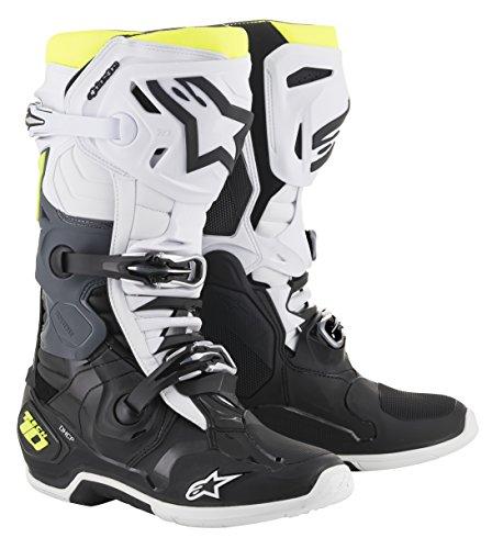Alpinestars 2010020-125-12 Unisex-Erwachsene Tech 10 Stiefel, Schwarz/Weiß/Gelb, Größe 47 (Mehrfarbig, 12)