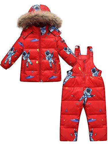 Zoerea Tuta da Sci per Bambino Unisex Set Tute Completo da Neve 2 Pezzi Snowsuit Caldo Invernale Giacca Cappotto con Cappuccio