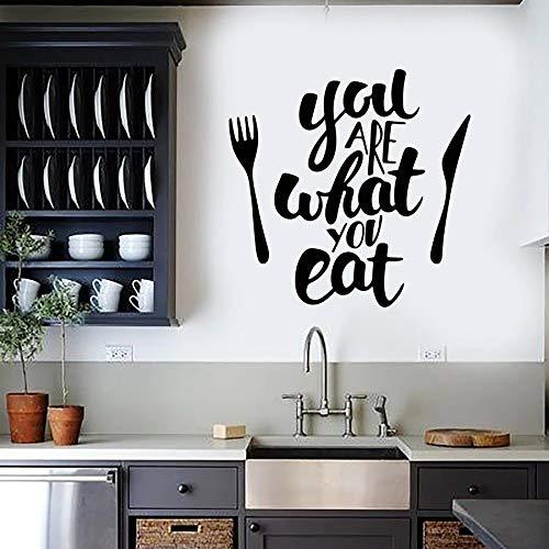 Tianpengyuanshuai Küche Wandtattoos Geschirr, was Sie Essen Vinyl Aufkleber kreative Restaurant Dekoration 85x87cm