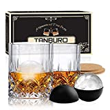 Whiskey Glasses Set of 2 in Gift Box, Rocks Glasses with Ice Ball Mold and Coasters, Classic Old Fashioned Glasses Crystal Scotch Bourbon Glass Gift for Father's Day/Men/Dad/Husband/Boyfriend/Birthday