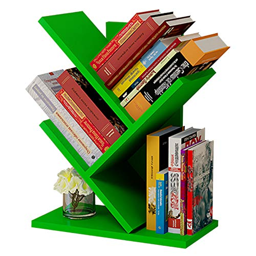 JKGHK Librerías de Madera de árbol para Escritorio, Estanterías pequeña, hogar, Sala de Estar, Oficina, Estante de Almacenamiento de exhibición de estantería Independiente, para CD/Revista/Libro