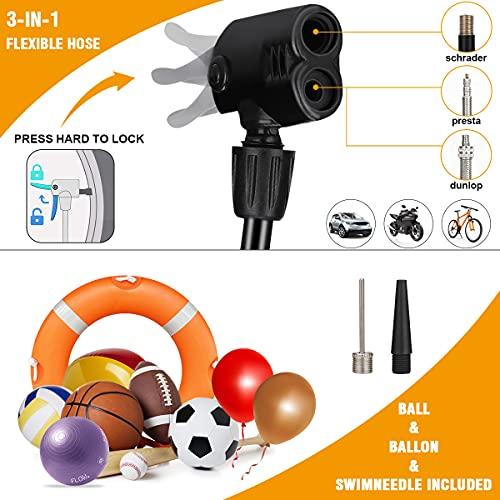 Mini Floor Bicycle Pump,Foot Activated Pump,Foot Air Pump Foot Bicycle Bike tire,Bike Foot Pump with Inflation Needle,Mini Bike Floor Pump with Gauge 160 PSI&Presta Schrader Valves Balls Balloons