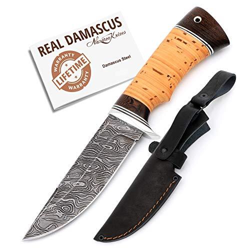 Nazarov Knives Cheetah Jagdmesser handgemacht- hochwertiges Damastmesser mit Holzgriff & Lederscheide, extra scharfer Damaststahl, ideal als Survival Messer oder Campingmesser
