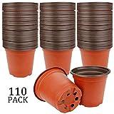 Augshy 110 Pcs 4' Plastic Plants Nursery Pot,Seed Starting Pots