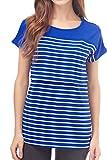 Smallshow Stillshirt Kurzarm Umstands Tshirt Umstandstop Umstandsmode Stilltop Baumwolle Schwangerschaft Streifen Shirt XL Deep Blue