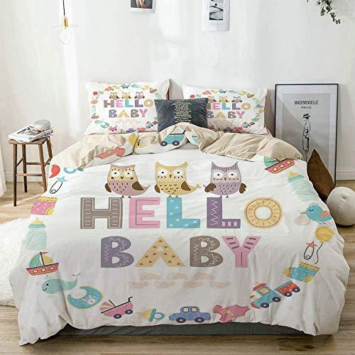Juego de funda nórdica beige, cita de Hello Baby con elementos para niños y divertidos pájaros búho, fiesta de bienvenida para recién nacidos, juego de cama decorativo de 3 piezas con 2 fundas de almo