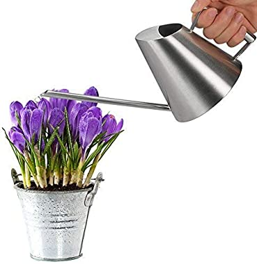 Fasmov 13.5 Oz Stainless Steel Watering Can Modern Style Watering Pot, Small Watering Can for Indoor Plants Houseplant Succul