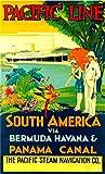 Vintage Pacific Line South America Via Bermudas Havana Póster de viaje de metal de 20 x 30 cm Retro Home Cafe Office Bar Pub Decoración de pared